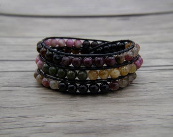 leather wrap bracelet multicolors bracelet Boho Bracelet Tourmaline agate beads bracelet 3 wrap row bracelet Christmas gift  jewelry SL-0575