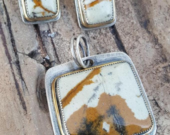 Contemporary Brushed Oxidized Sterling Silver Yellow Ochre Black Jasper Stone Handmade Pendant & Earrings Set Mixed Metal Modern Abstract