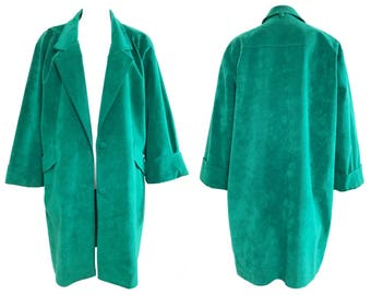 Vintage 1980s Green Micro Suede Cocoon Drape Coat Oversize Jacket Cropped Sleeves
