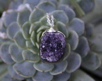 Silver Amethyst Necklace / Raw Amethyst Necklace