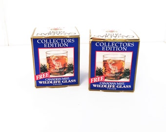 Canadian Mist Collectors Wildlife Glasses, 2 Whiskey glasses
