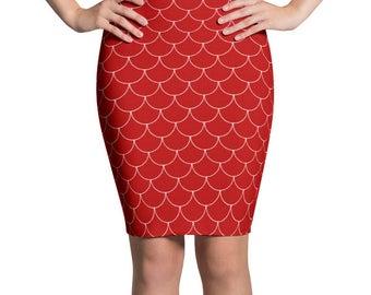 Red Mermaid Skirt, Red and White Pencil Skirt, Stretchy Mermaid Scales Patterned Skirt, Women's Knee Length Skirt