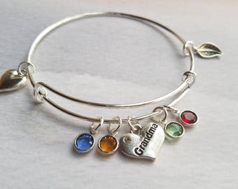Personalized Grandma Bracelet, Mothers day gift for grandma, birthstone bracelet, grandmother gift, personalized gift, mothers day jewelry