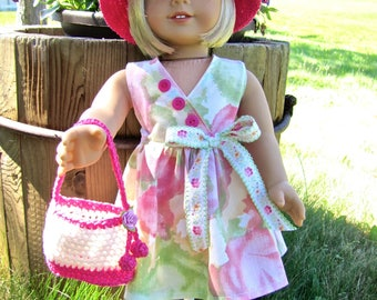 "Handmade 'Sunday Best' outfit for 18"" American Girl Doll, recycled dress, original design crocheted hat and purse"