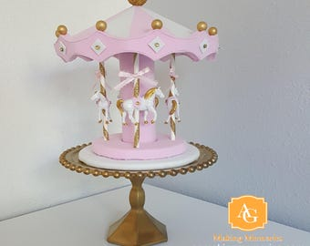 Carousel cake topper / centerpiece - pink, white, gold