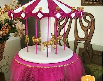 Glitter Carousel Centerpiece- fuchia/ magenta, white, gold