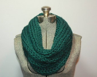 Turquoise Hand Knitted Single Loop Infinity Scarf
