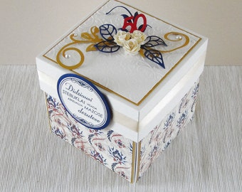 Happy Anniversary Card - Exploding Box Gift for Mom - 50th Birthday Gift for Women - Unique Decorated Gift Box - Paper Birthday Cake Inside