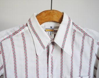 1970's shirt Metzger 70's Vintage shirt Striped Boho Hippie Long sleeve Party Casual Cotton Dress shirt medium