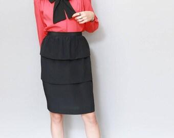 Vintage 1980's Black Tiered Silk Midi Skirt