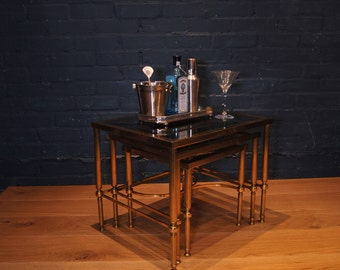 Maison Jansen Mid Century French Brass Nest of three Table's with column legs finished with smoked glazed tops Read-Shipping-Info