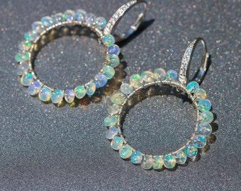 Ethiopian Opal Earrings, Ethiopian Opal Hoop Earrings Silver Welo Opal Wire Wrapped Hoops Opal Small Hoops Sterling Silver Gemstone Earrings