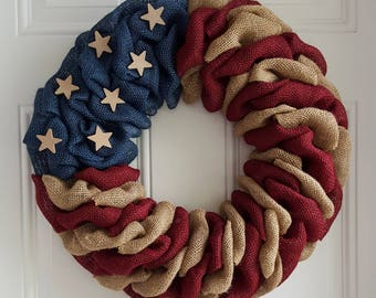 Patriotic wreath patriotic burlap wreath Independence day wreath primitive wreath 4th of july rustic wreath military wreath army navy marine