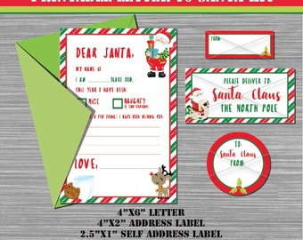 Letter santa kit etsy printable letter to santa kit letter address labels 2 circle seal spiritdancerdesigns Image collections