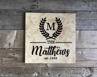 Monogrammed Tile, Personalized Tile, Name Tile, Wedding Gift, Personalized Gift, Gifts for Her, Anniversary Gift, Housewarmig Gift