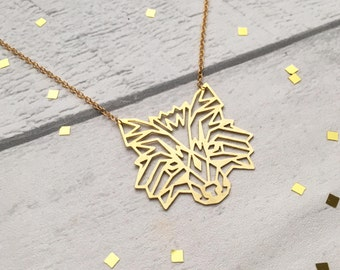 Wolf face Necklace, wolf, Geometric Necklace, wolf Pendant, wolf jewellery, wolf Jewelry, Geometric Necklace, wolf face, gifts for her