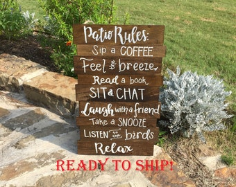 Patio rules, patio sign, Porch rules, porch sign, Fathers Day, outdoor sign, patio rules sign, outdoor decor, wood outdoor sign, wood patio