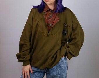 CENTRAL PARK Vintage 80's Unisex Oversized 1/4  Zip Sweatshirt Paisley Collar  | Men's Size XL