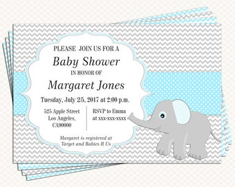 Elephant Baby shower Invitation. Blue and Gray. Boy Baby shower. Invitation printable. Personalized tags