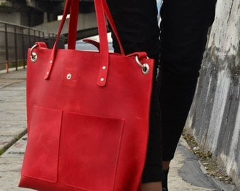 Red tote bag, Red purse, Red leather tote, red leather bag, red bag, red tote, red leather handbag, red leather purse, large red tote bag