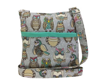 Funky Owls Crossbody Bag // Sling Bag // Crossbody Purse // Hipster