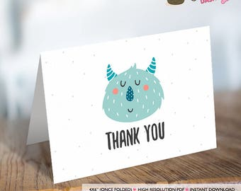 INSTANT DOWNLOAD Little Critter thank you card Monster thank you card monster thank you note monster invitation