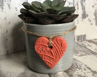 Coral Clay Mini Heart Tag - hanging heart, clay tag, ceramic tag, handmade heart, cottage chic, jar tags, gift wrapping tag, heart charm