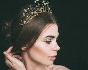 bridal tiara, gold crown, headpiece, headdress, crystal tiara, womens gift, crystal headpiece, gold headdress, tiara, hair vine, headband