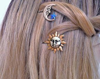 Hair Picks,Sun Moon Star Hair Bobby pins, Hair pins, Hair Picks