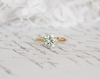1.46ct 7.45mm Citrus Yellow/Green Moissanite in 14k Yellow and White Gold Solitaire Ring (14ct), Engagement Ring
