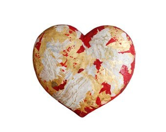 Wall sculpture, decorative Panel, wall sculpture, big heart, handmade, made in italy, unique gift, papier maché mixed media