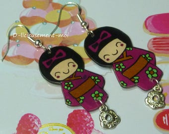 Earrings in sterling silver 925 doll Chinese kokeshi kawaii crazy shrink plastic and flower charm