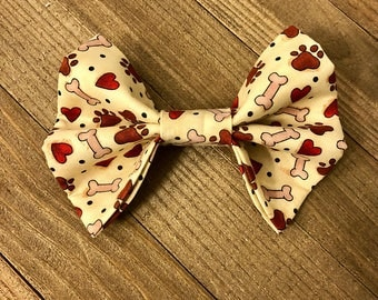 Valentine's Day Dog/Cat Bow Tie, Bones, Paw Prints, and Hearts Bow Tie