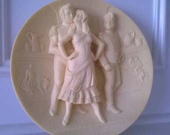 """Carmen Opera by Bizet - Ivory Alabaster Plate by Gino Ruggeri - """"Grand Opera Collection"""" - Made in Italy"""