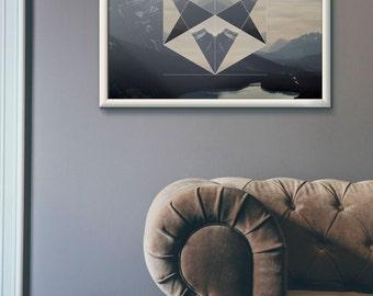 Abstract Hexagon Geometric Vector Landscape Art poster print