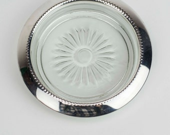 5 Cut Glass and Silver Coasters