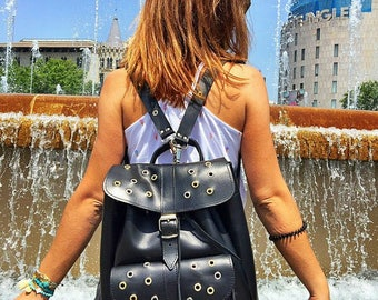 Backpack Women, Leather Rucksack, Black Leather Backpack, Fashion Bag, Made in Greece from Full Grain Leather, LARGE.