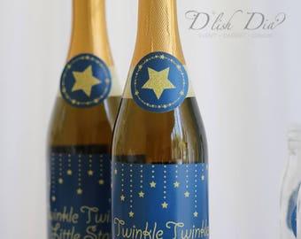 Twinkle little star labels,Sparking soda labels,wine labels,Navy and Gold Twinkle little star birthday,Twinkle little star baby shower