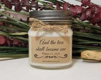Wedding Gift for Couple - 8oz Personalized Wedding Candles - Engagement Gift for Couple - Soy Candles Handmade - Wedding Favors