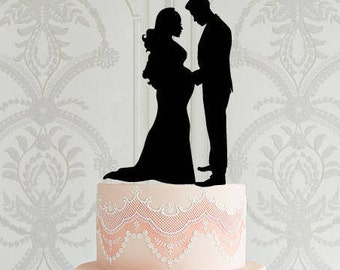 Wedding Cake Topper, Pregnant Bride Cake Topper, Wedding Cake Decor, Pregnancy Wedding Cake Topper, Wedding Decoration, Family Cake Topper