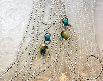 Organic Turquoise Drop Earrings