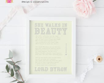 Wedding Gift, Poetry Art Print, She Walks in Beauty, Lord Byron, Romantic gift, Poet Wall Art, Wedding Poetry, Wall Decor, Typography poster