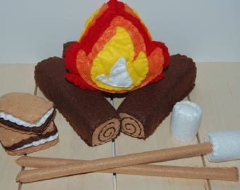 Felt Campfire Set, Felt Food, Pretend Camping, Play Food, Toddler Activity, Gift for Kids, Marshmallow Smore, Pretend Play, Safe Stuffed Toy