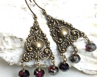 Red Chandelier Earrings. Boho Garnet Red Czech Glass and Brass Statement Earrings. Ornate Victorian Long Gold Earrings. Romantic Gift Idea