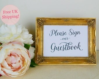 Please Sign our Guestbook, Wedding Guestbook Sign, Printed Wedding Sign, Reception Sign, Two sizes 5x7 8x10, White or Kraft, FREE SHIPPING