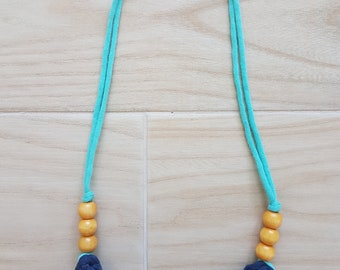 Out At Sea Fabric Necklace with Wooden Beads