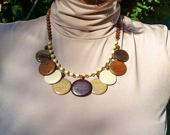 Chunky Necklace, Chunky Wooden Bead Necklace, Wooden Necklace, Necklace Jewelry