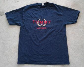 Vintage 90's Bootleg Tommy Hilfiger Las Vegas Embroidered blue t-shirt large