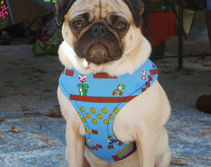 Featured listing image: Retro Gamer Dog Harness, a Blue 8-Bit Geek Chic Throwback to the 80s!  Available in Two Choke-Free Styles, for Large and Small Dogs