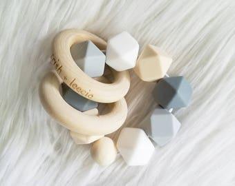Silicone & Wood Teether - Snow White, Light Grey, Grey, Navajo White